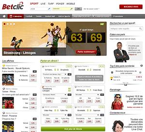 Capture d'écran du site de Betclic paris sportif.