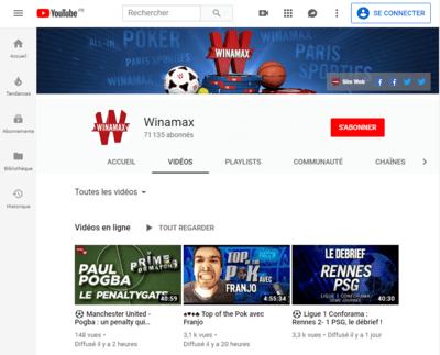 La chaîne YouTube de Winamax