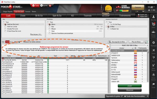 Redemarrage des serveurs de PokerStars.
