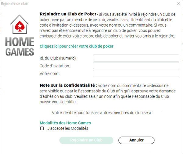 Rejoindre un club de poker Home Games PokerStars.