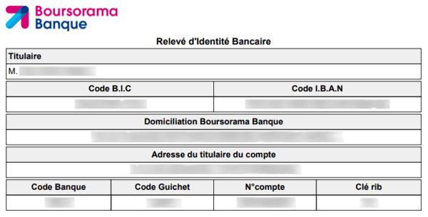 Relevé d'identité bancaire (exemple).