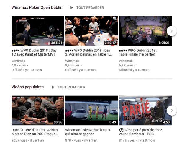 Winamax sur YouTube (accueil).